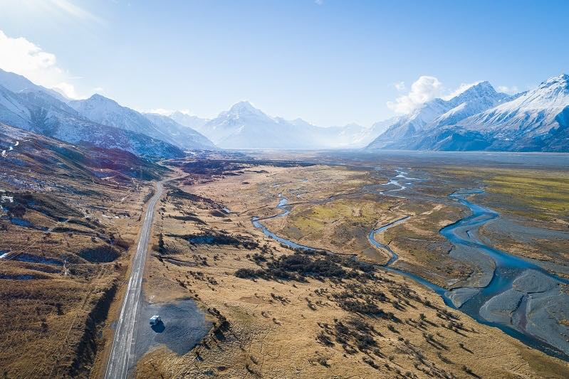Aerial picture of Mount Cook New Zealand