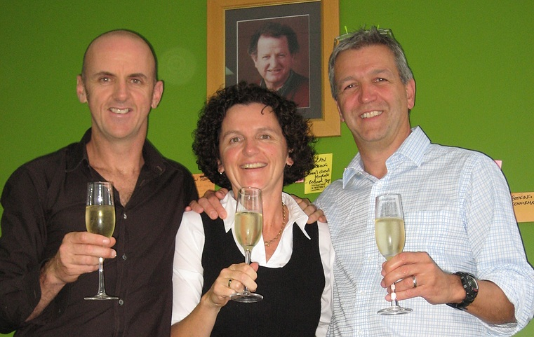 john, merry, and michael having a toast