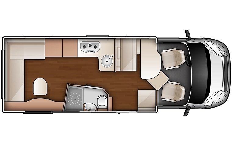 The Suite motorhome with beds folded down