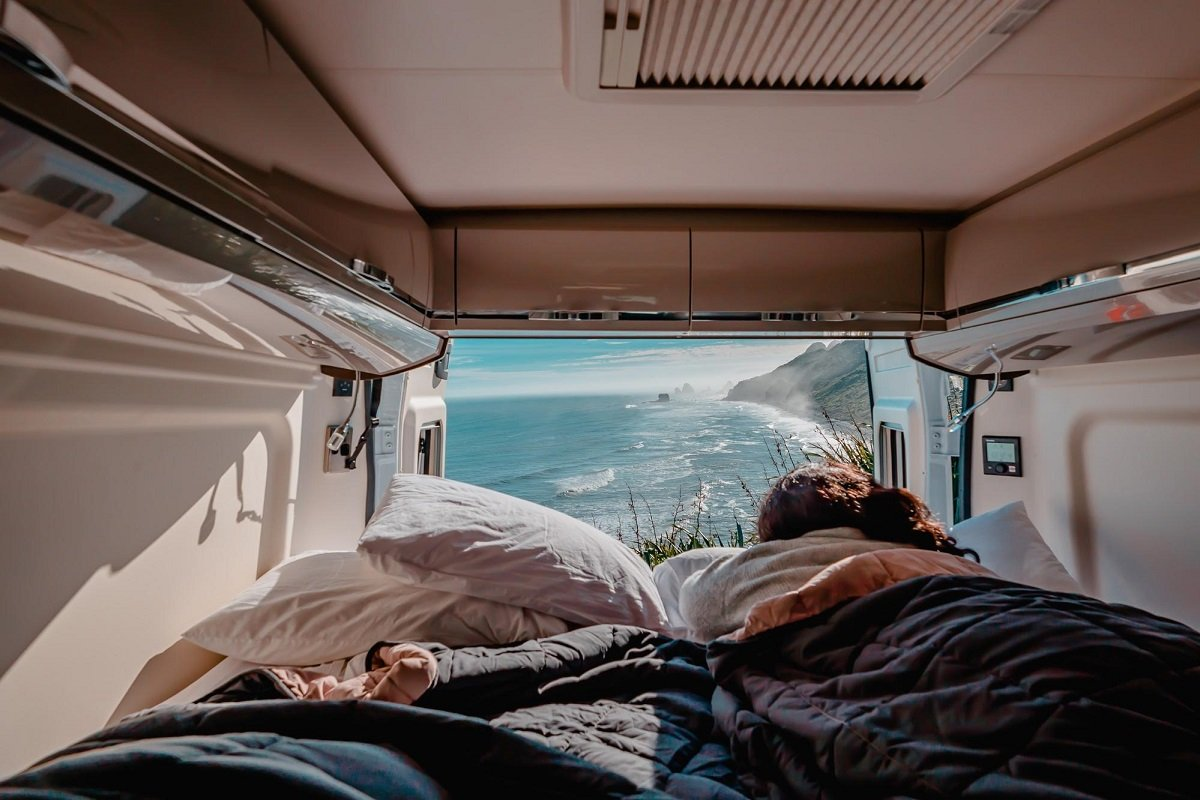 Campervan camping with a view in New Zealand