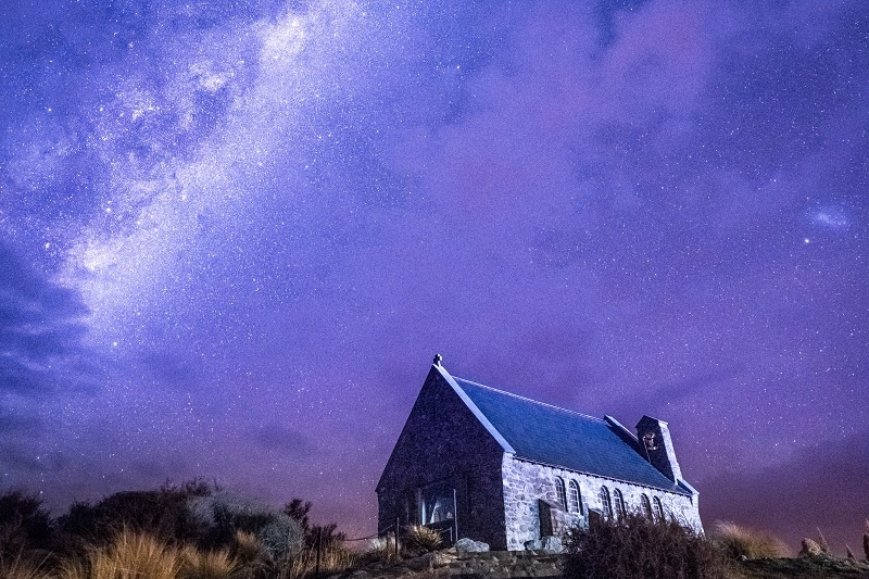 Church of the Good Shepherd at night Lake Tekapo NZ
