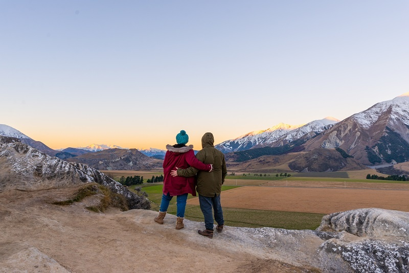 Couple enjoying the view at Castle Hill