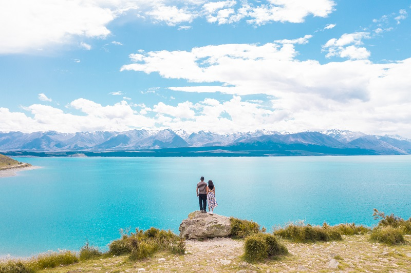 Couple enjoying the view at Lake Pukaki