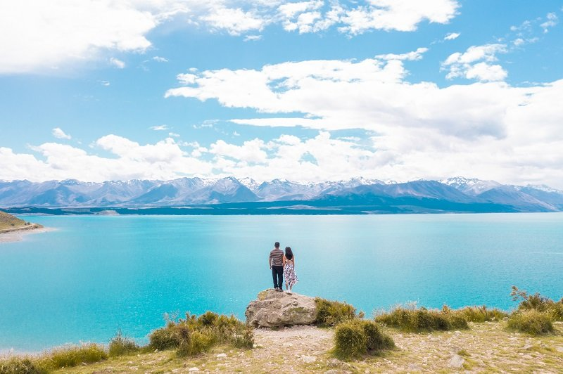 Couple enjoying the view at Lake Pukaki