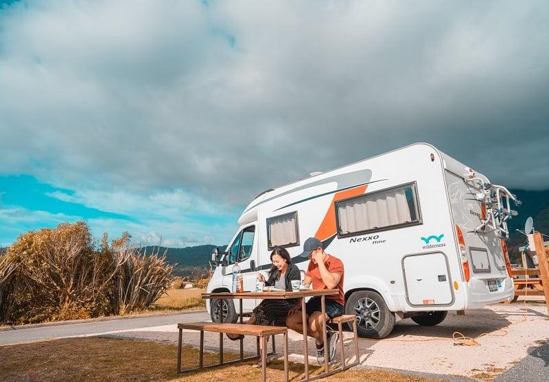 Dinner outside of a Wilderness campervan
