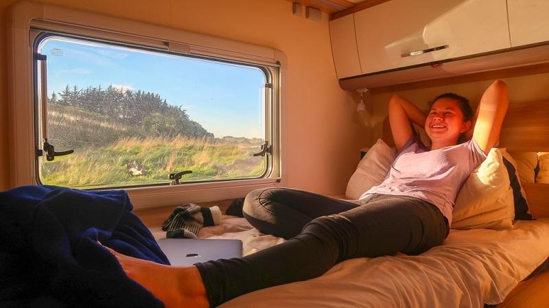 Enjoying the comfort or your campervan rental in New Zealand