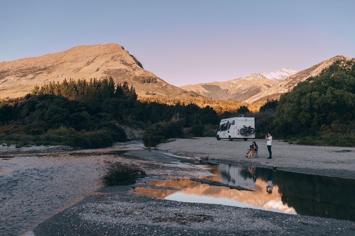 Freedom camping at Twenty Five Mile Stream