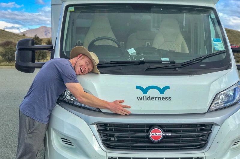 Heath hugging his Wilderness motorhome in New Zealand
