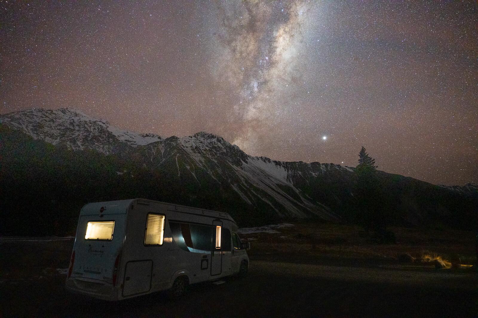 Wilderness Motorhome under the stars in the Aoraki Dark Sky Reserve
