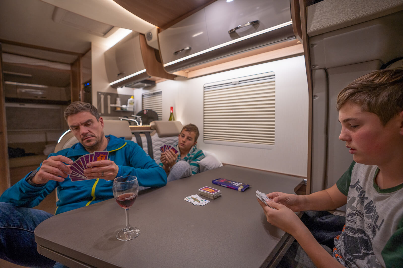 family game night inside a Wilderness Motorhome