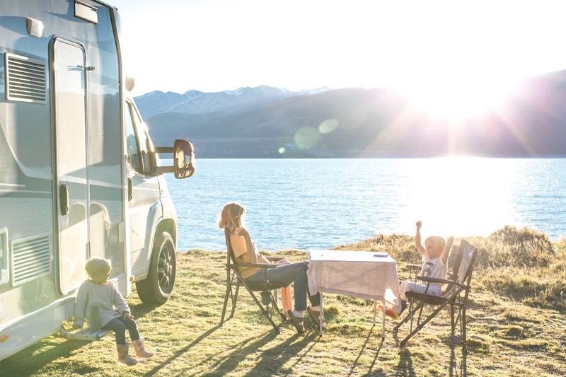 Family motorhome camping at Lake Pukaki