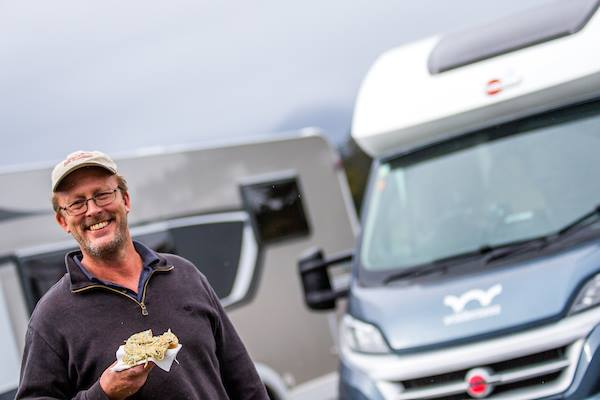 Tim is happy with his whitebait fritter
