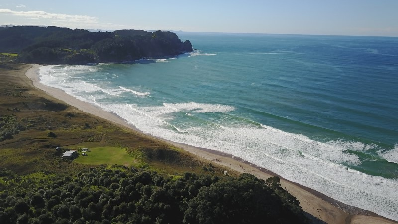 Drone image of Hot Water Beach, New Zealand