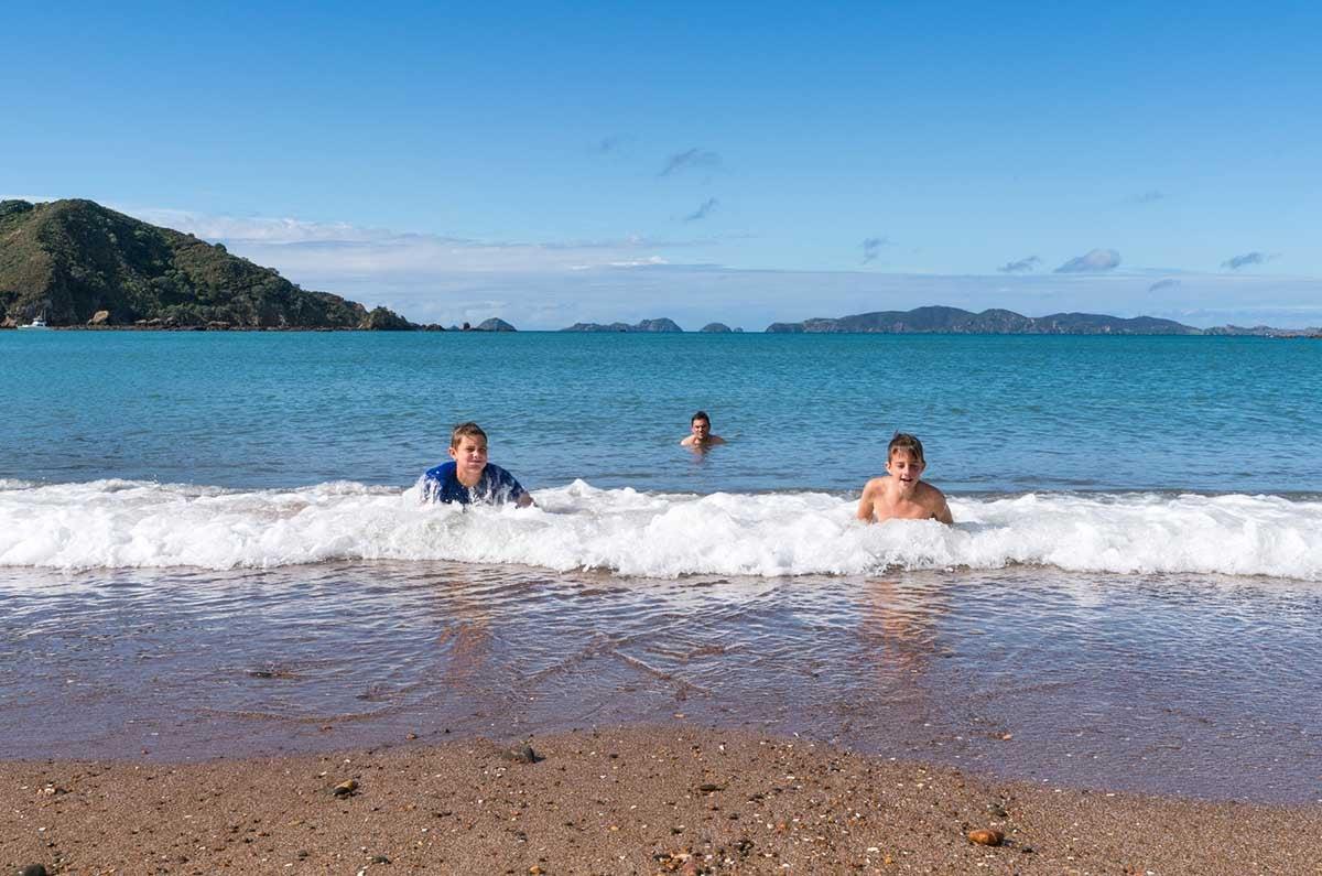 Summer-swimming-at-Mahinepua