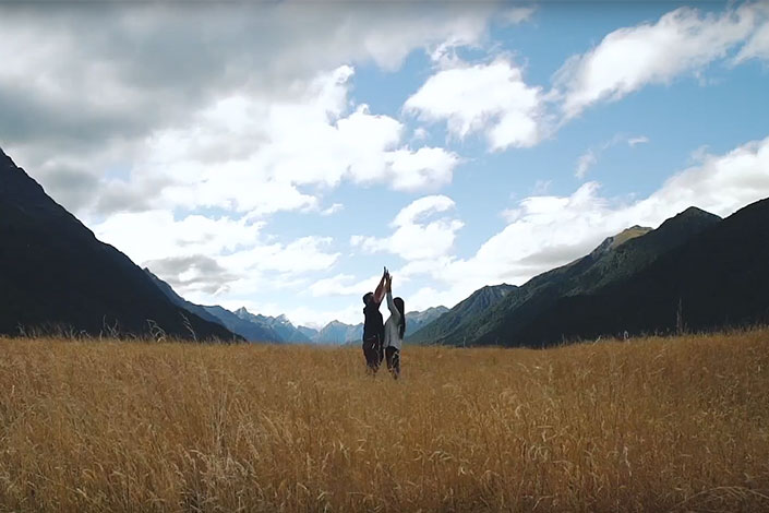 Couple enjoying freedom camping in New Zealand