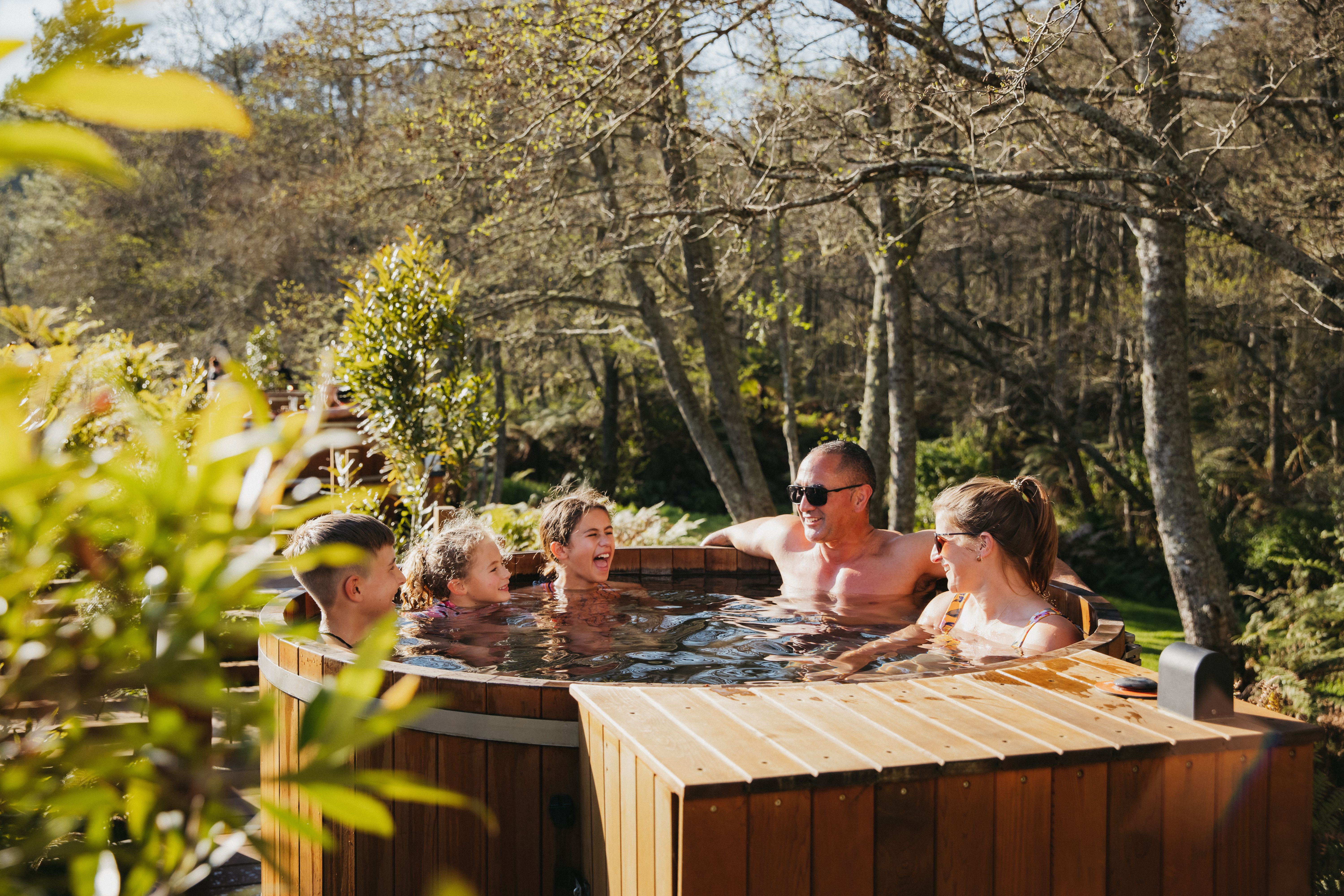 Hot tub family laughing