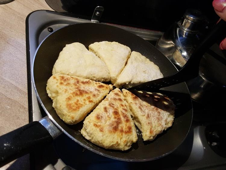 Girdle scones cooked in a Wilderness motorhome