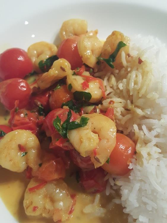 Prawn curry cooked in a Wilderness motorhome