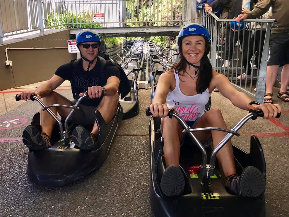 Jo McKenzie experiencing the Luge at Skyline Rotorua