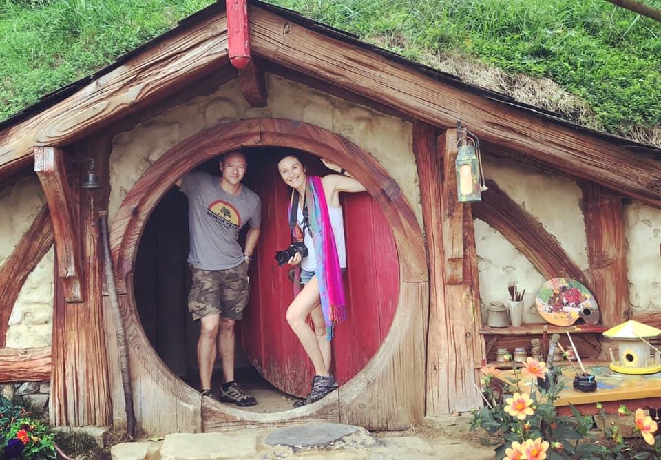 Jo McKenzie visiting Hobbiton