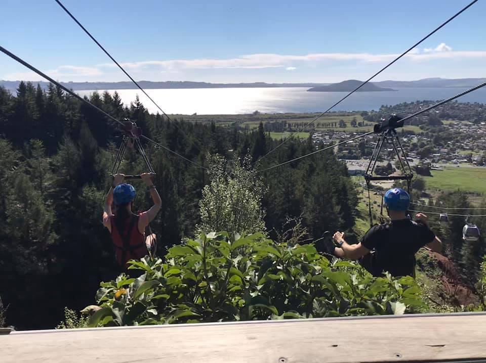 Jo McKenzie zip lining at Rotorua