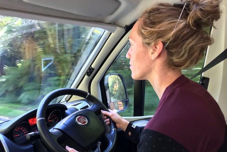 Lizzie Simmonds driving her Wilderness motorhome