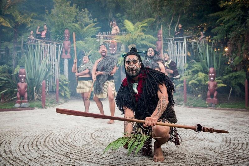 Maori Warrior at Tamaki Village Rotorua New Zealand