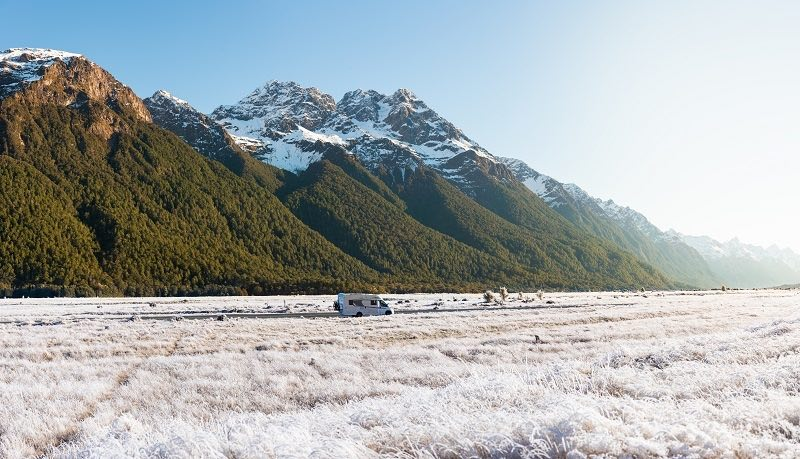 Motorhome driving on Te Anua Milford Highway