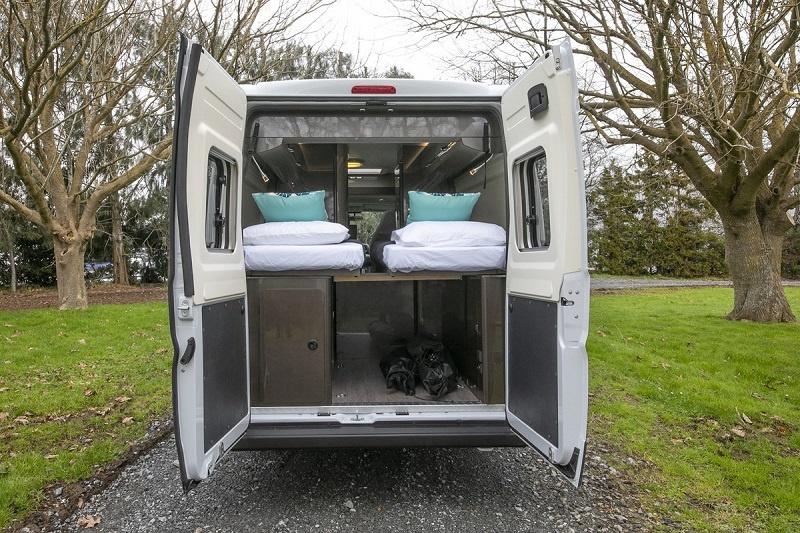 New Zealand Campervan rental - Vista 2 from Wilderness Motorhomes - Back doors
