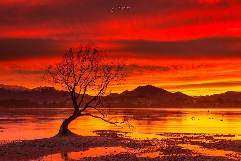 Red sunrise at Lake Wanaka