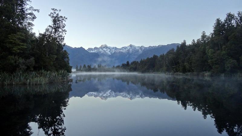 Reflection of Fox Glacier in Lake Matheson