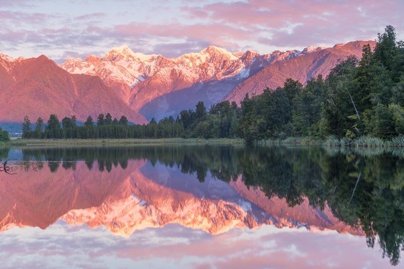 Sunrise over Lake Matheson New Zealand
