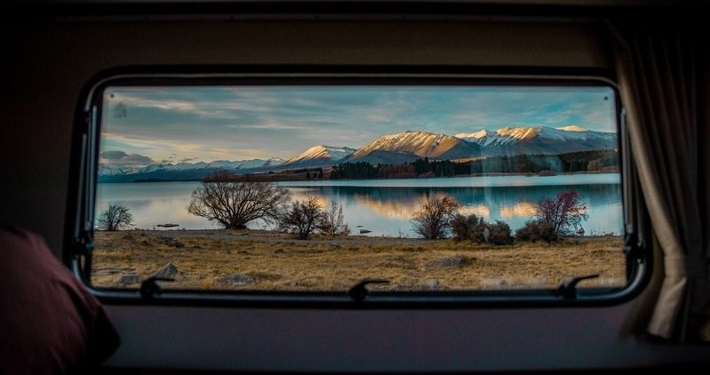 View of Lake Tekapo from a New Zealand campervan rental