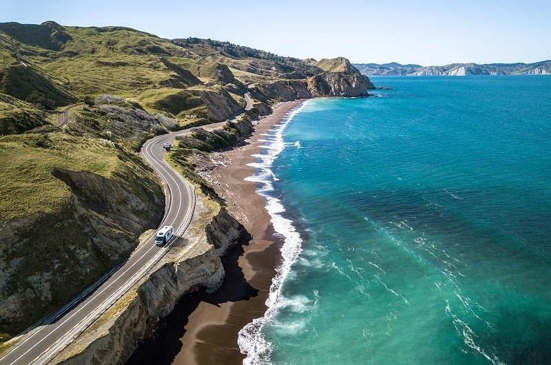 Wilderness Motorhome driving at Mahia Bay New Zealand