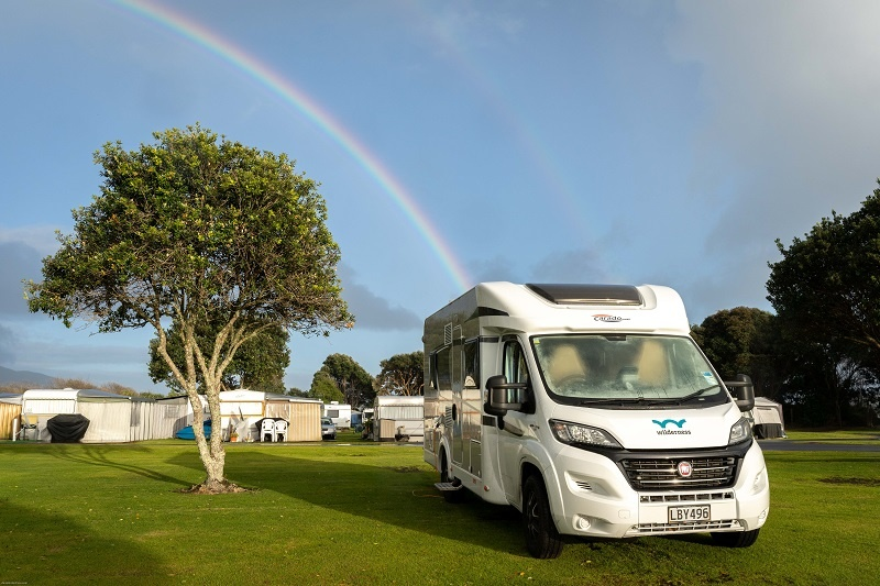 Wilderness motorhome parked at Raglan Holiday Park