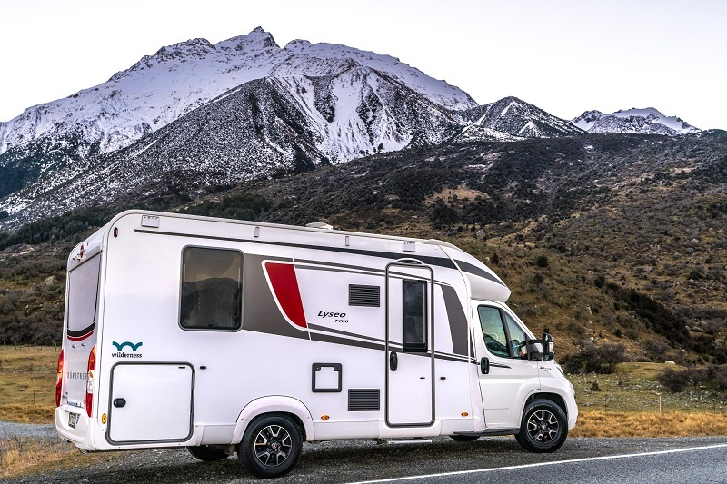 Wilderness motorhome parked near Mount Cook