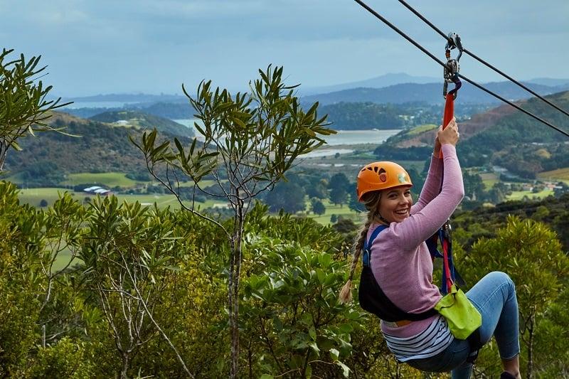 Ziplining in Waiheke Island New Zealand