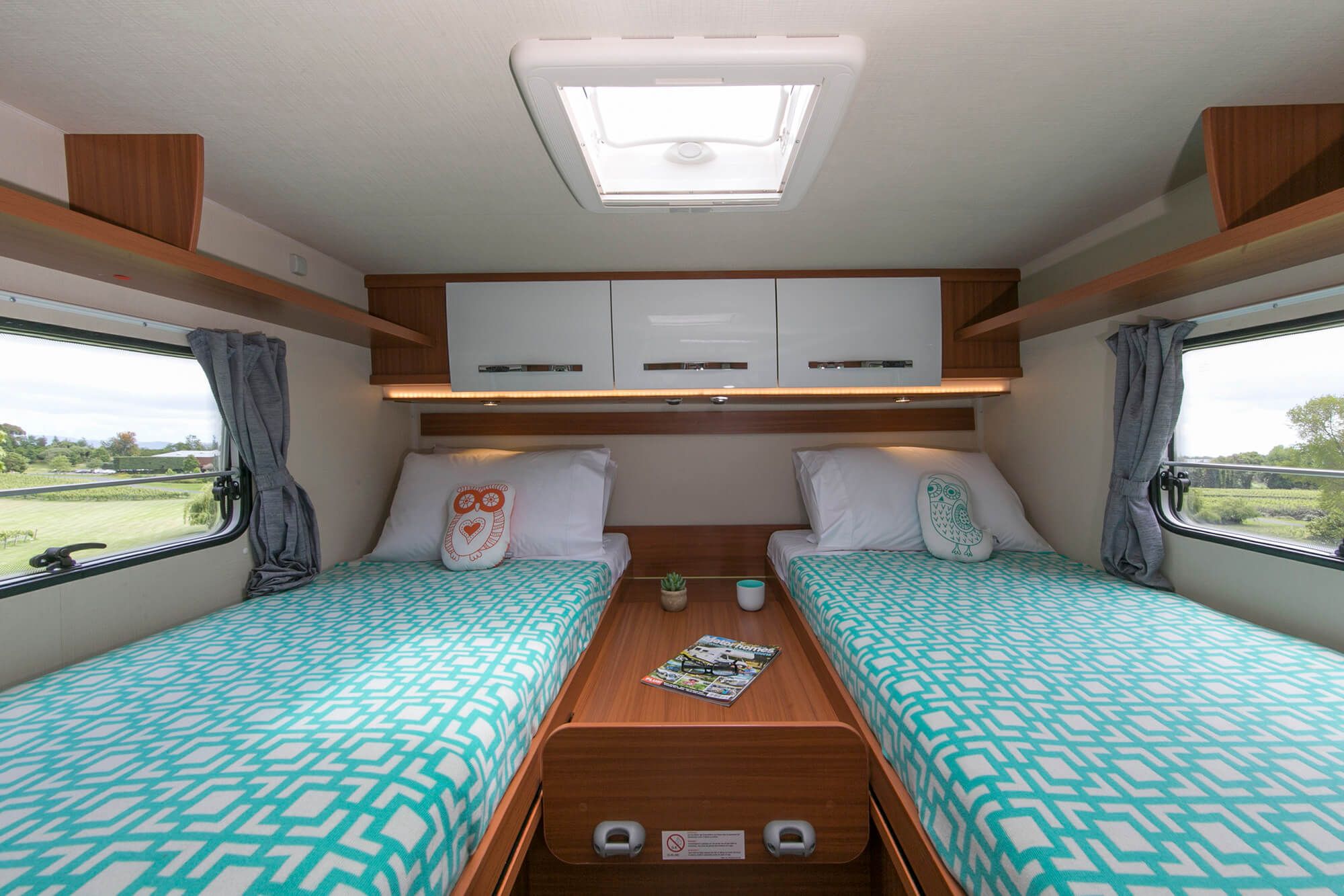 Rear beds in twin single configuration