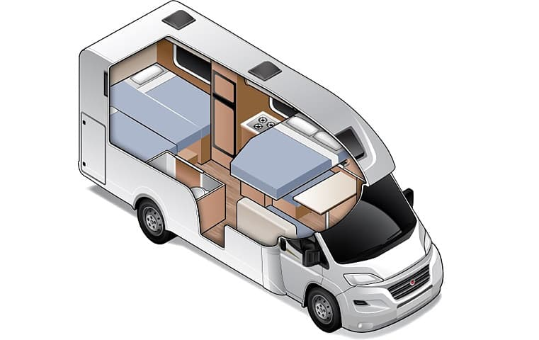 King/Twin for 4 - Four Person Campervan | Wilderness Motorhomes - Interior #3