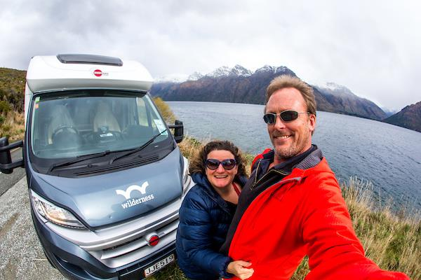 Tim and Flea with their wilderness motorhome