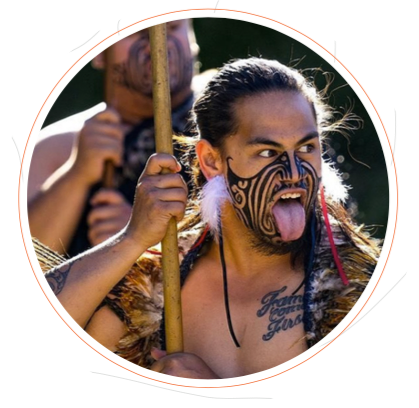 Maori men performing the haka