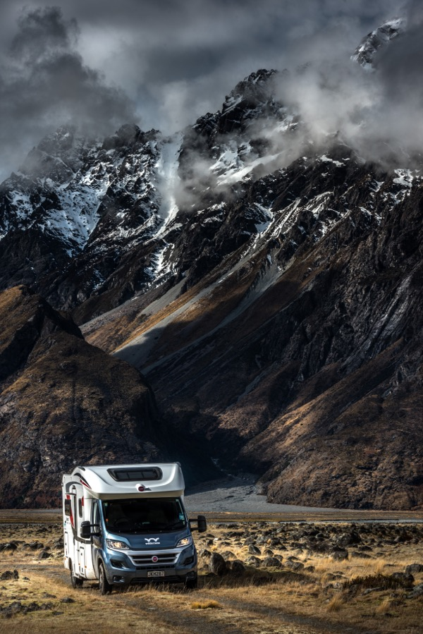 Chrystal Hutchinson 's New Zealand camper hire goes to Tasman Valley