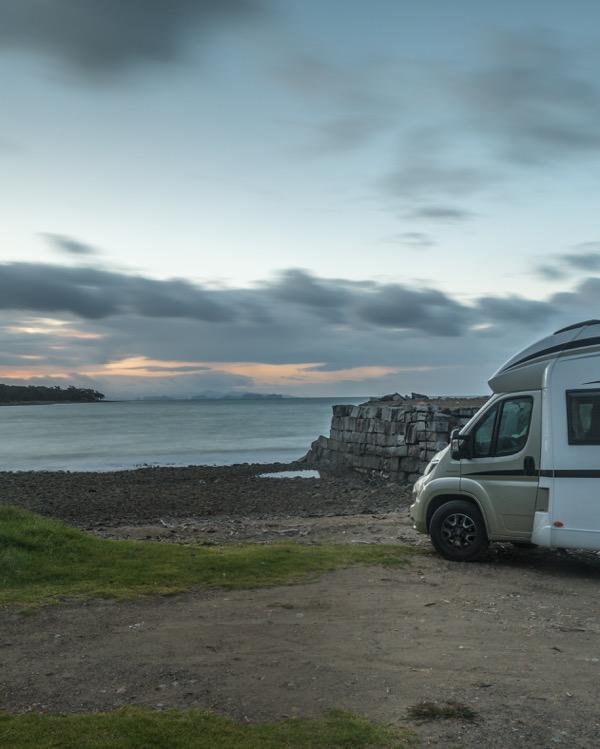 Wilderness motorhome rental parked at Granite Wharf NZ