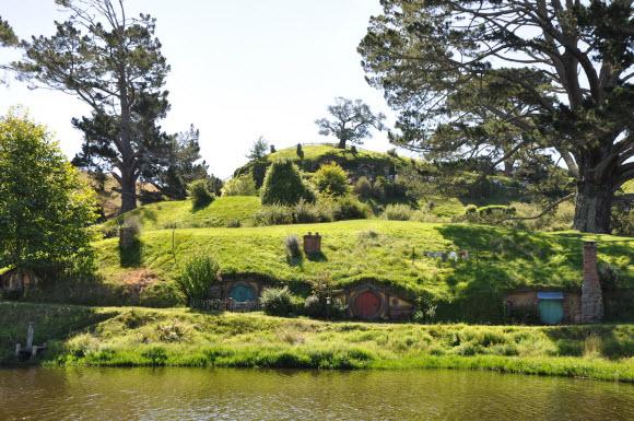 Scenic view of the Hobbiton set in Matamata, New Zealand