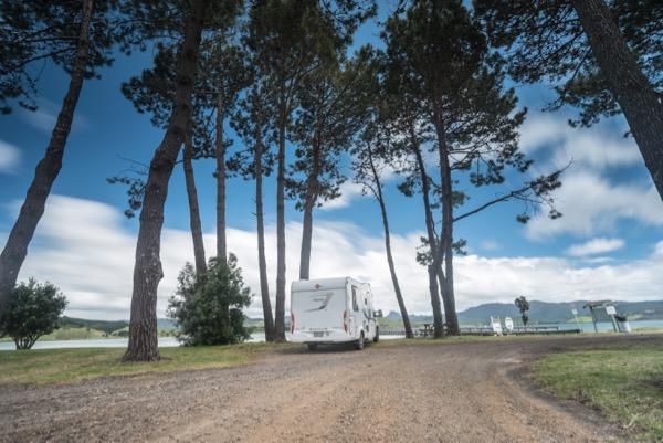 Motorhome freedom camping at Matarangi New Zealand