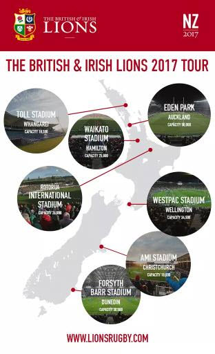 Map of NZ Lions Tour 2017