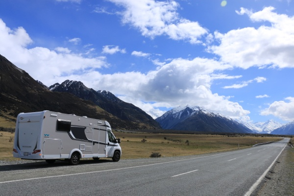 Camper on the way to Mount Cook, NZ