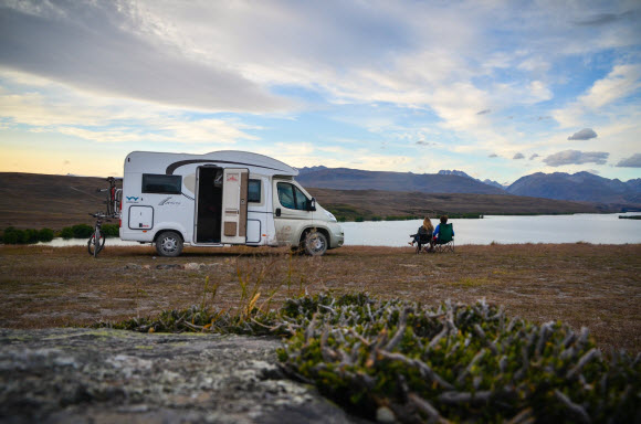 Couple travelling together in a motorhome hire NZ