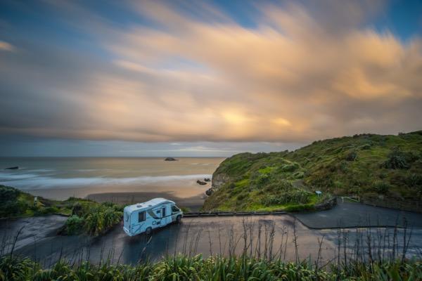 Wilderness NZ motorhome parked at Maori Bay Muriwai
